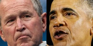 Collage photos George W. Bush / Barack Obama