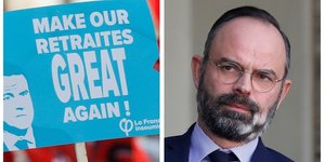 Collage photos opposants réforme des retraites (France Insoumise) et Edouard Philippe, premier ministre