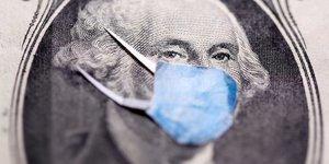 Illustration coronavirus : billet dollar masque George Washington