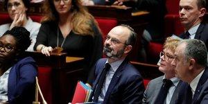 Le Premier ministre Edouard Philippe lors d'une séance de questions au gouvernement à l'Assemblée nationale, avant le vote de deux motions de censure visant le projet de réforme des retraites