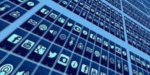 Mur d'applications (Facebook, Twitter, applis, app, smartphone, Internet)