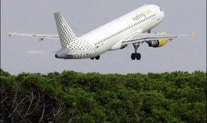 Un avion de la compagnie Vueling, en 2007 à Barcelone.